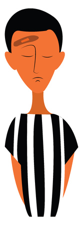 A boy in standing prison dress vector or color illustration