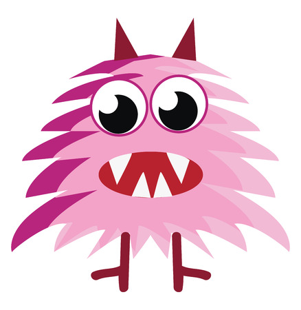 Scary pink furry creature vector or color illustration