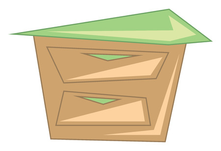Wooden night stand to keep things vector or color illustration 向量圖像