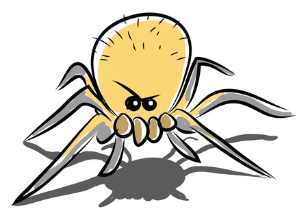 Angry spider with eight legs vector or color illustration