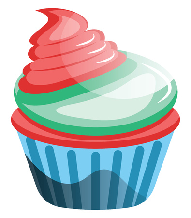 Red velvet cupcake with colorful frosting illustration vector on white background Vectores