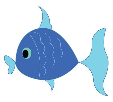 A little blue fish vector or color illustration Illustration