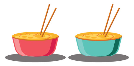 Two bowls full of food ready for Chinese New Year vector illustration on white background