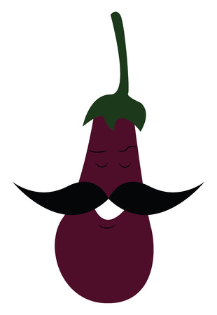 Eggplant with mustache vector or color illustration