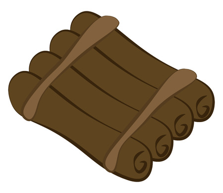 A timber floating raft vector or color illustration