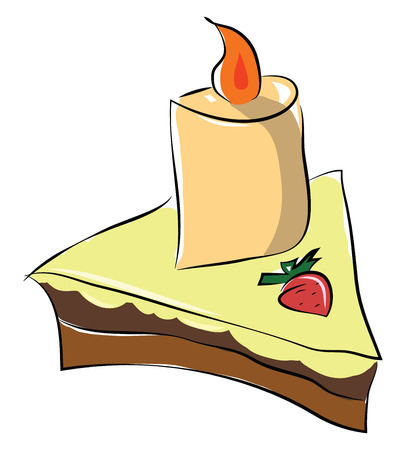 Piece of cake with strawberry toppings vector or color illustration Illustration