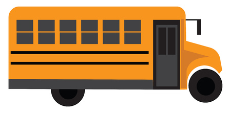Yellow school bus vector illustration on white background
