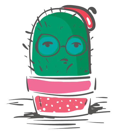 Cactus in Christmas celebration vector or color illustration