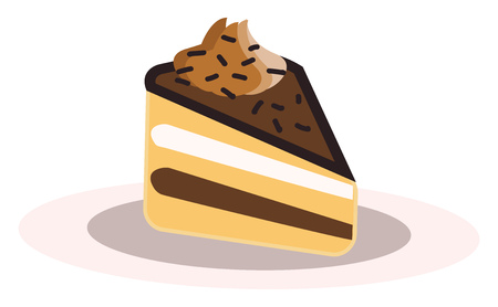 A piece of chocolate cake vector or color illustration