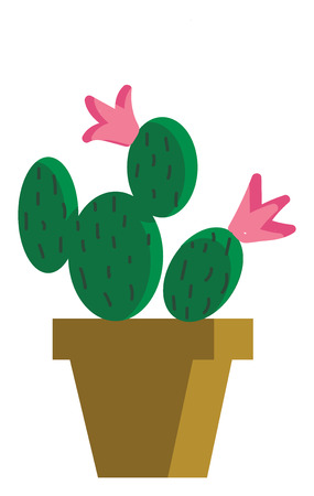 Cactus as Mickey and Minnie vector or color illustration