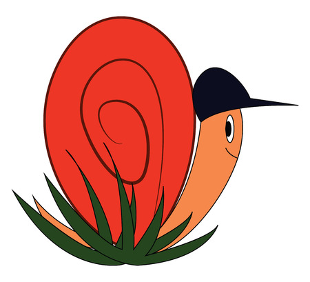 Cartoon of a smilng snail with a black hat vector illustration on white background