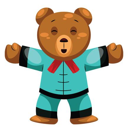 Teddy Bear sending you hugsChinese New Year illustration vector on white background