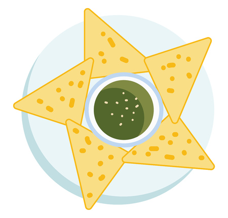 Nachos with guacamole dip vector or color illustration Ilustracja