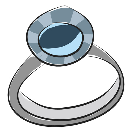 Simple  vector illustration on white background of a silver rind with blue gem Illusztráció