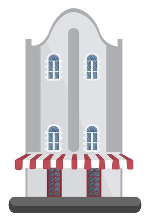 Cartoon white building vector illustartion on white background