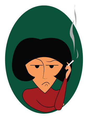 A disturbed woman is smoking cigarette vector or color illustration