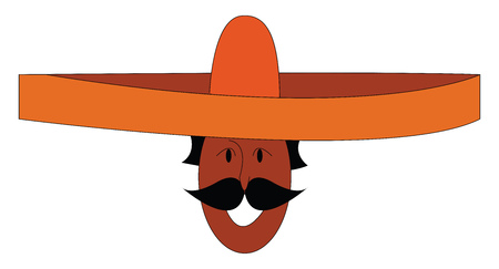 Vector illustration on white background ofa smiling mexican with a big orange sombrero