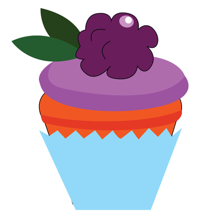 Delicious berry cake vector illustration on white background