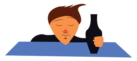 A drunk man with bottle vector or color illustration Stock Illustratie