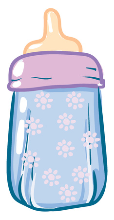 Simple baby floral bottle with milk vector illustartion on white background