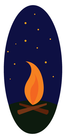 Clipart of a wood fire vector or color illustration Illustration