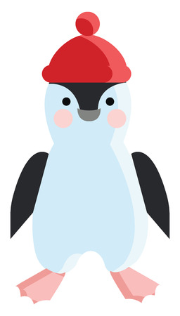 Baby penguin with red hat vector or color illustration Illustration