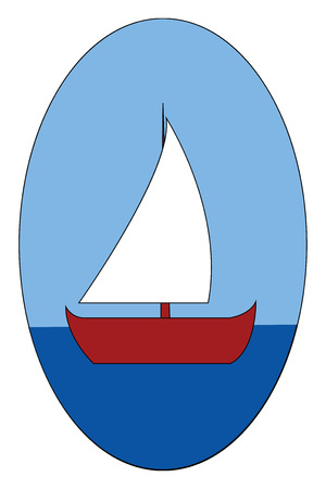 Red boat on the sea vector illustration on white background