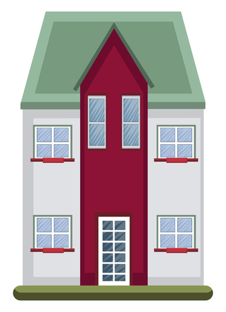 Cartoon building with green roof vector illustartion on white background