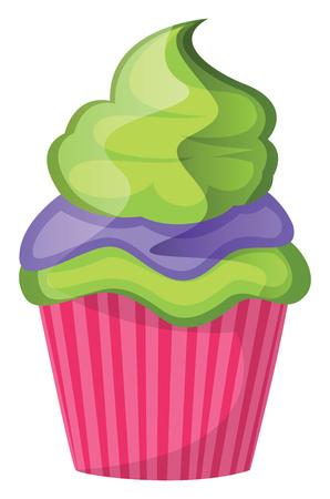 Green velvet cupcake with purple and green topping illustration vector on white background Ilustração