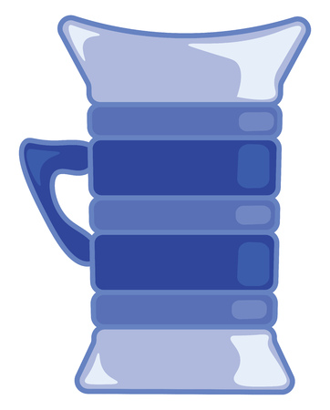 A blue cup for drinking vector or color illustration