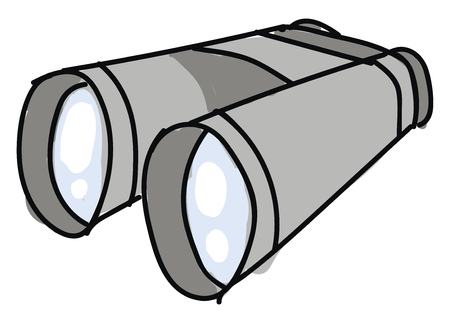 Big cartoon grey binoculars vector illustration on white background