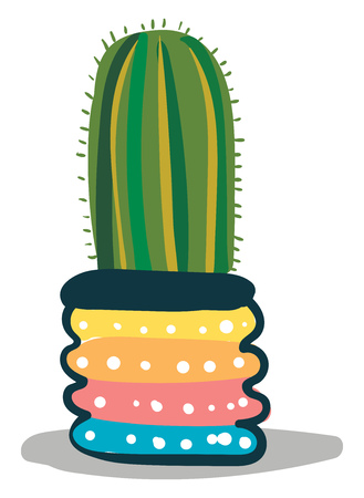 Tall cactus in designer pot vector or color illustration