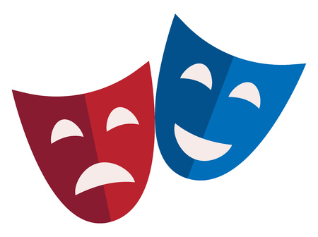 The comedy and tragic masks used in theatre vector or color illustration  イラスト・ベクター素材