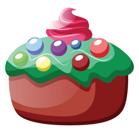 Cupcake with green frosting and colorful sprinkles illustration vector on white background  イラスト・ベクター素材