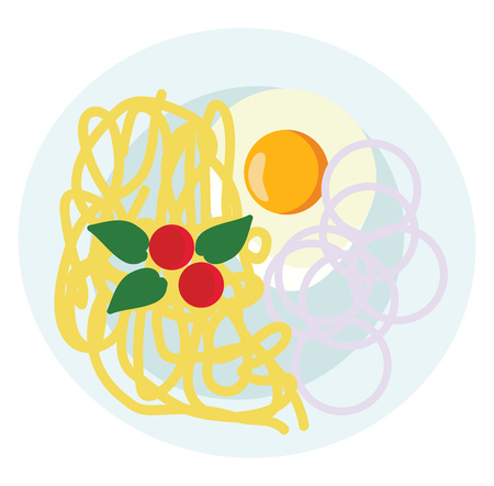 A plate of spaghetti vector or color illustration