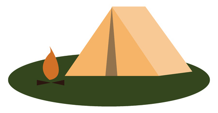 Clipart of a camp site vector or color illustration
