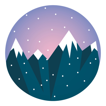 Blue snow-covered mountain vector or color illustration