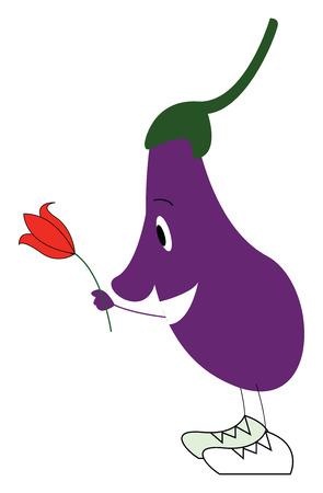 An eggplant emoji with flower vector or color illustration Ilustração