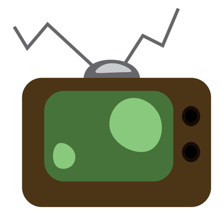 Old fashioned box television set vector or color illustration  イラスト・ベクター素材