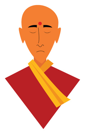 Meditating monk vector or color illustration Standard-Bild - 121232820