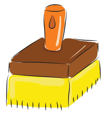 Simple cartoon big yellow brush vector illustration on white background