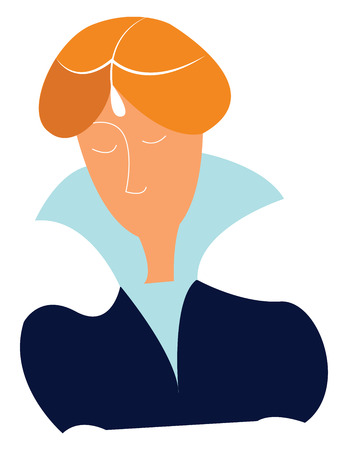 Lady in high collar dress vector or color illustration