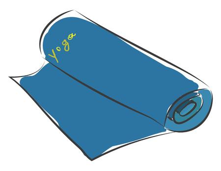 Blue yoga mat for practicing yoga basic RGB vector on white background Illustration