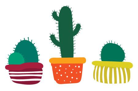 Set of decorative cactus plant pots vector or color illustration Illustration