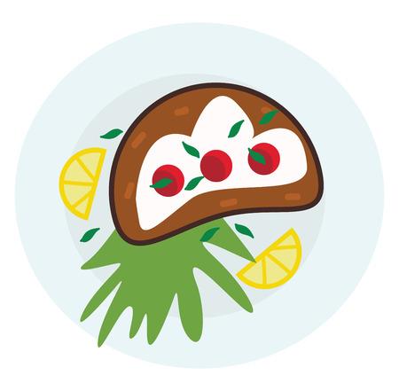 A healthy snack platter vector or color illustration Illustration