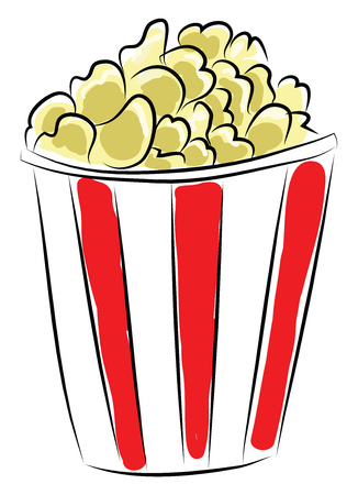 Red and white box of popcorn vector illustration on a white background