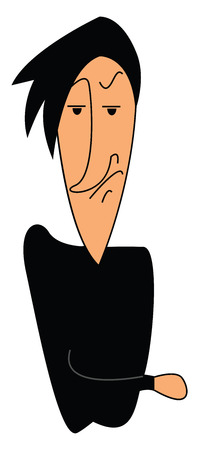 Angry cartoon man in black vector illustration on white background