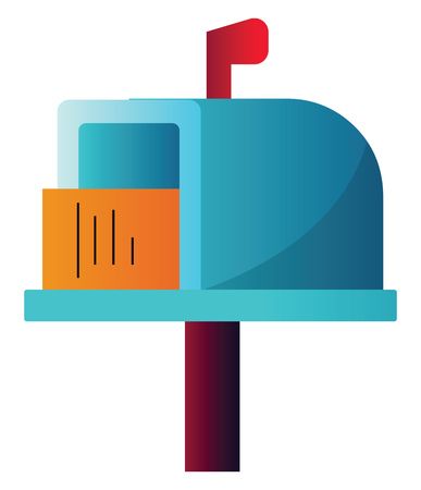 Colorful letterbox with letter inside simple vector illustration on a white background