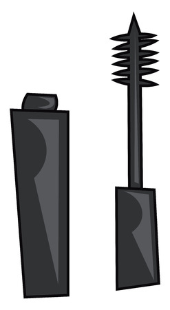 A rectangular-shaped black-colored mascara with a brush fitted to a lid is left open vector color drawing or illustration Illusztráció