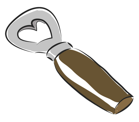 A shiny metal bottle opener with a dark brown handle placed on a table vector color drawing or illustration
